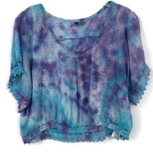 ROXY CROPPED CROCHETED TIE DYED TOP XL